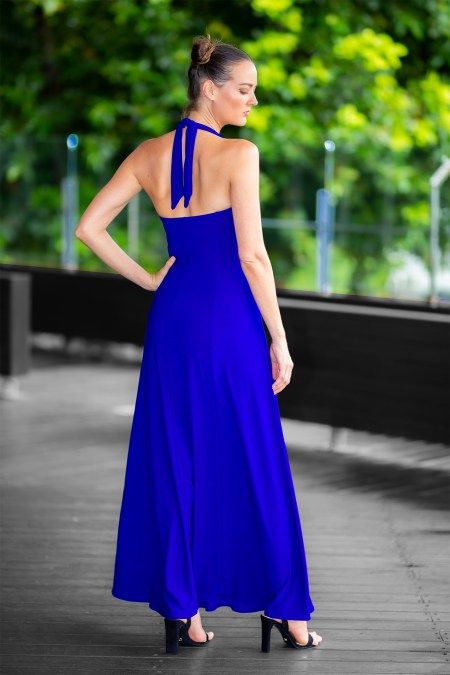 Juno Flared Maxi in Cobalt Blue