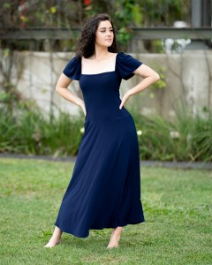 Birdwing Maxi Dress with Butterfly Sleeves in Navy