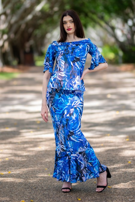 Ellipse Butterfly Top and Dulce Mermaid Maxi Skirt in Blue Lagoon
