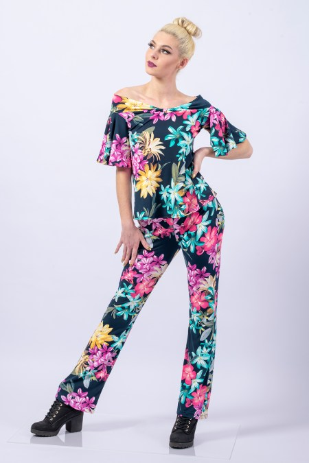 Boot Cut Pants and Butterfly Off the Shoulder Top in Aloha