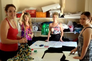 Being creative at the sewing studio. From left to right: Suzanne, me (Sajeela), Ashleigh and Jazna.