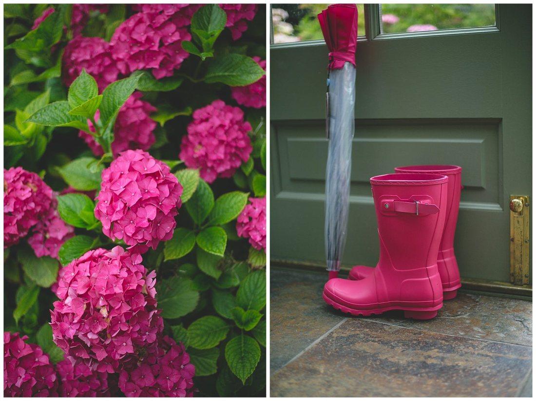 Bright pink hydrangeas & hot-pink hunter wellington boots