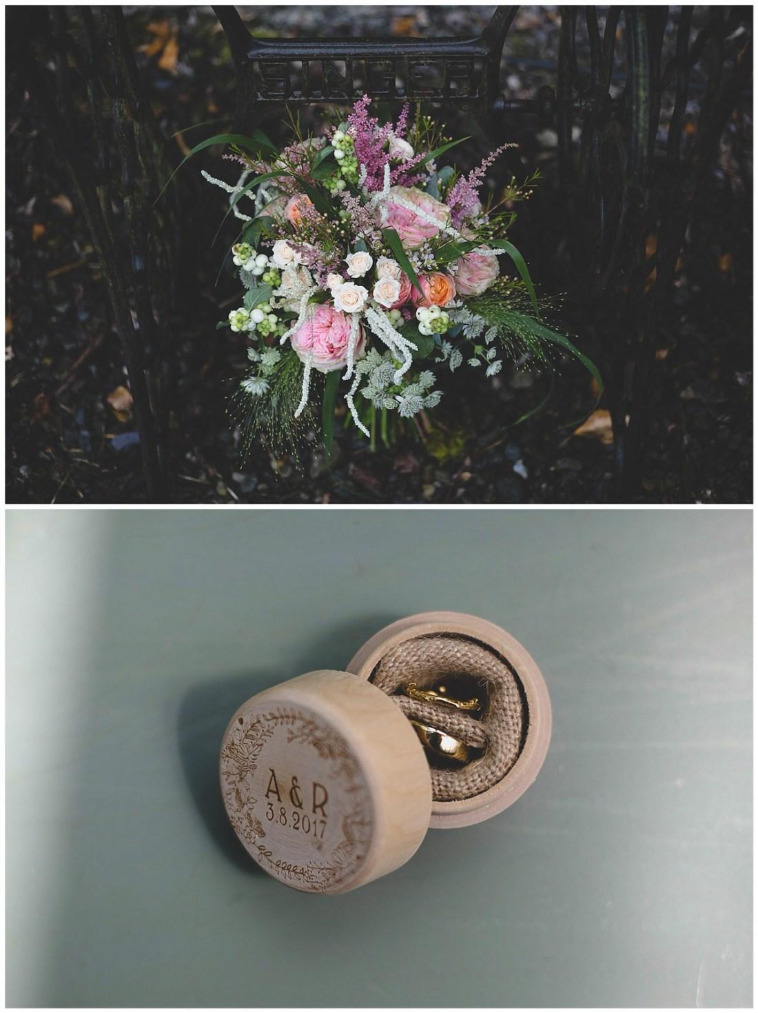 Circular brown wooden ring box