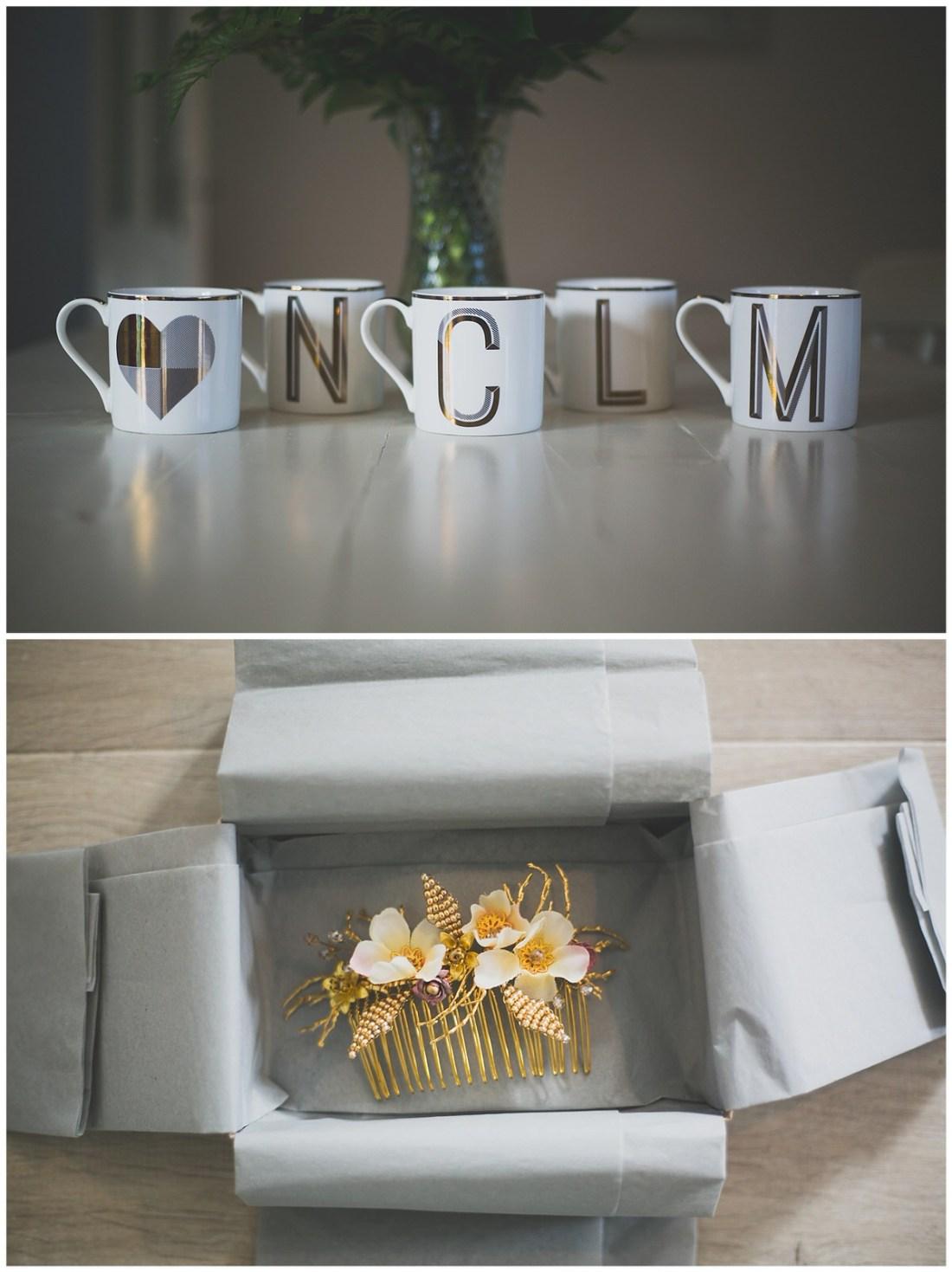 Cute bridesmaids gift of initialled mugs