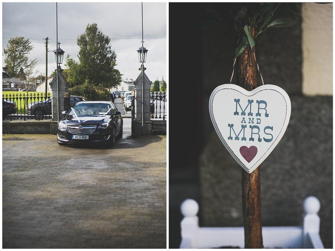 Wedding car with white ribbon