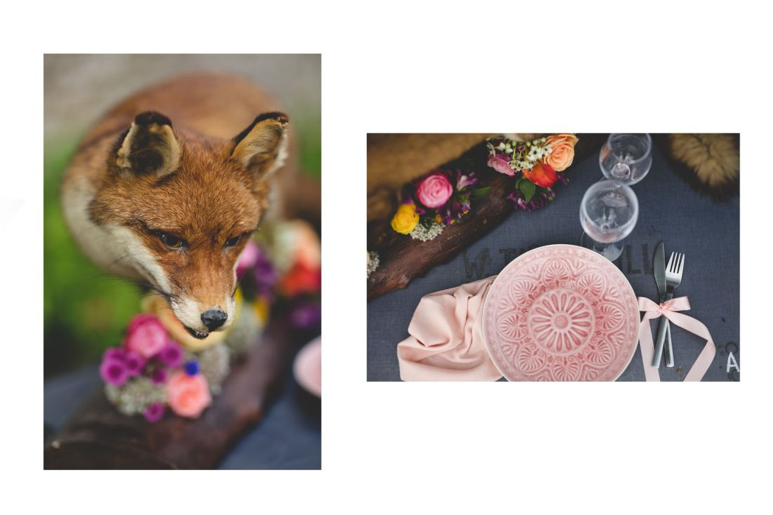 taxidermy fox & table setting details