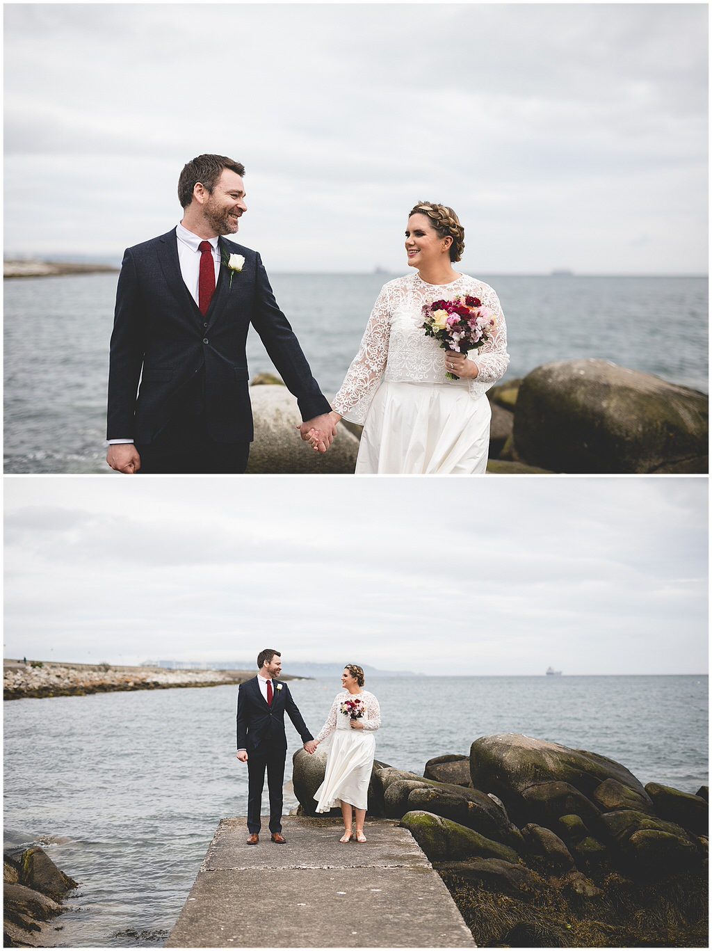 Couple holding hands at the end of a pier on their wedding day