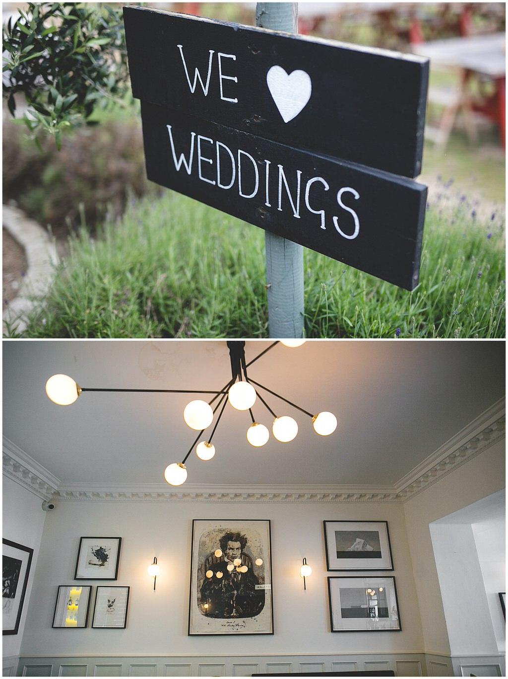 Rustic Black 'we heart weddings' sign