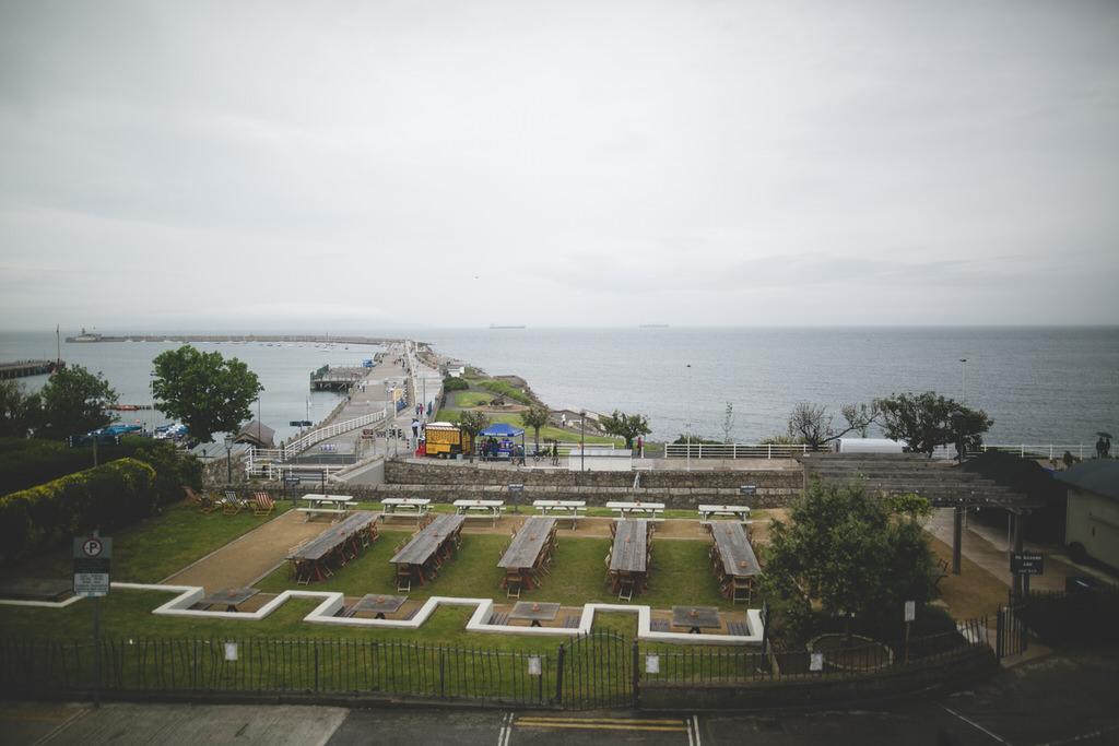 Dunlaoighre Pier as seen from the Haddington Hotel