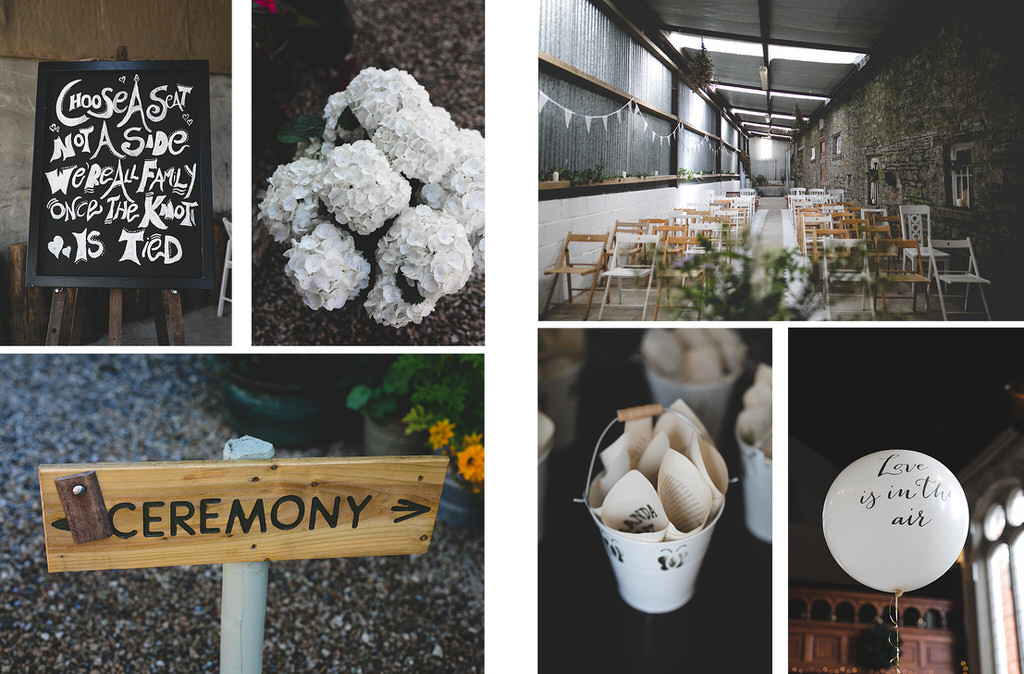 Cute details, flowers & signage at a humanist wedding ceremony
