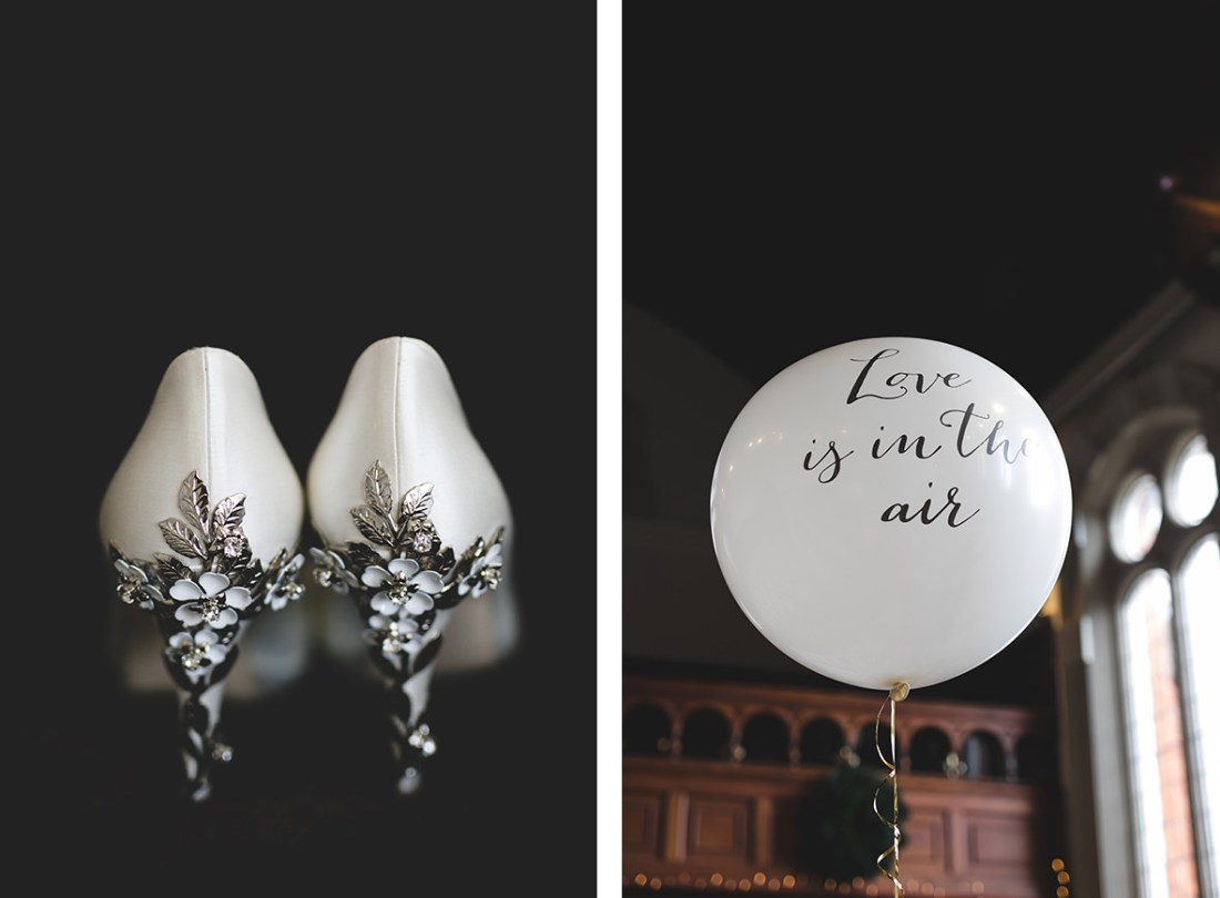 Love is in the air balloon and embellished bridal high heels
