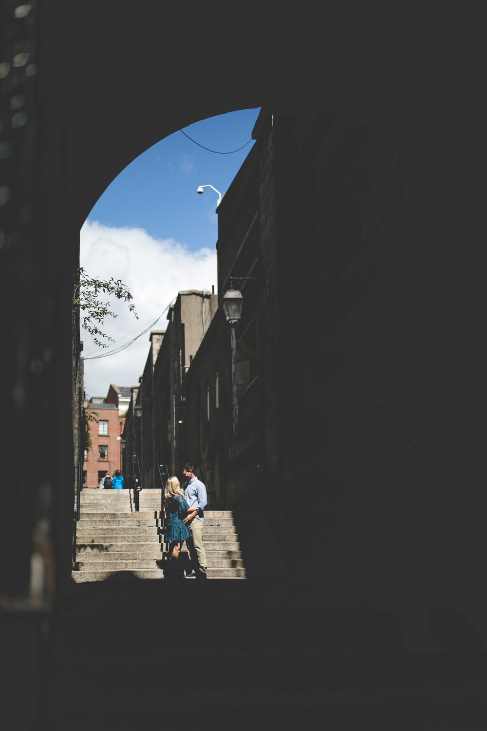 Engagement Photos on the 40 steps beside Dublin Castle