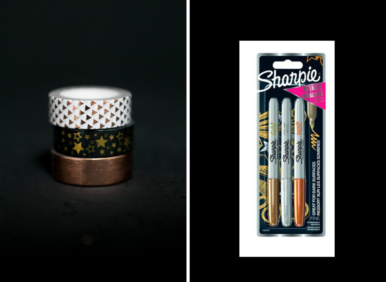 Washi tape & metallic sharpie set for signing a wedding photo guestbook