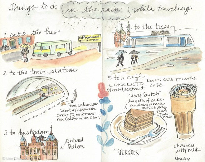 Illustrated journal of my rainy day excursion to Amsterdam via train