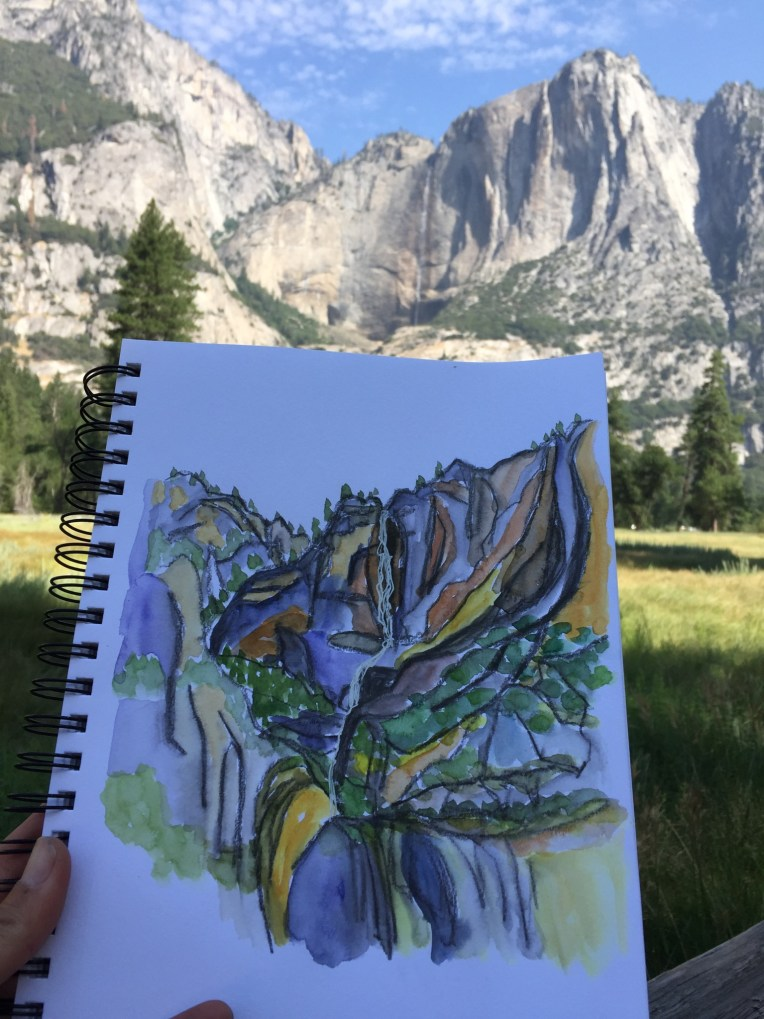 Yosemite Falls with sketch - morning