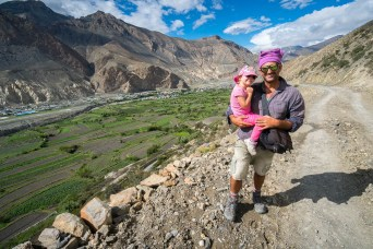 Father and Child Trekking to Marpha
