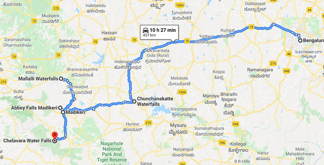 Route map for coorg