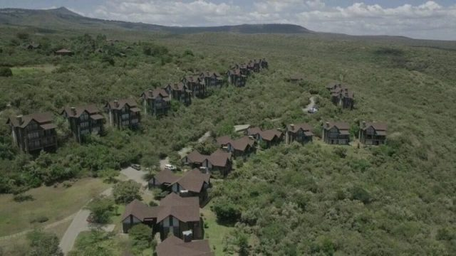The Great Rift Valley lodges as seen from above