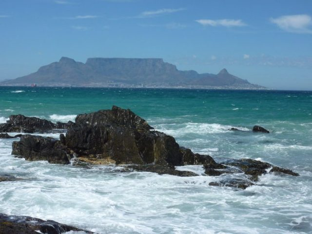 The Table Mountain visible from Bloubergstrand Beach