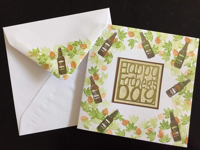 Fathers Day card with stamped beer bottles