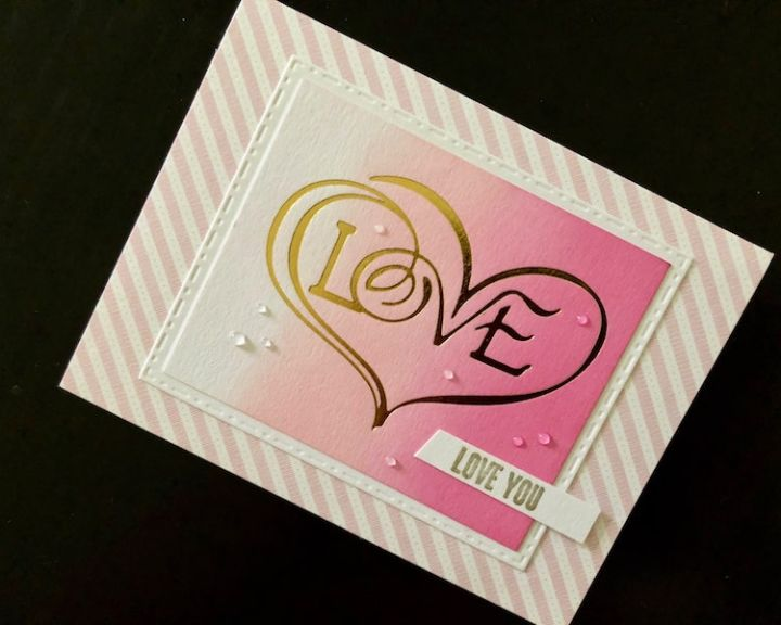 valentine card with hot foil love heart