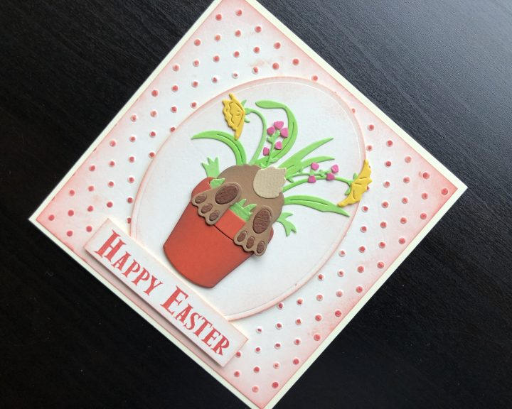 hand made Easter card with a bunny in a flower pot