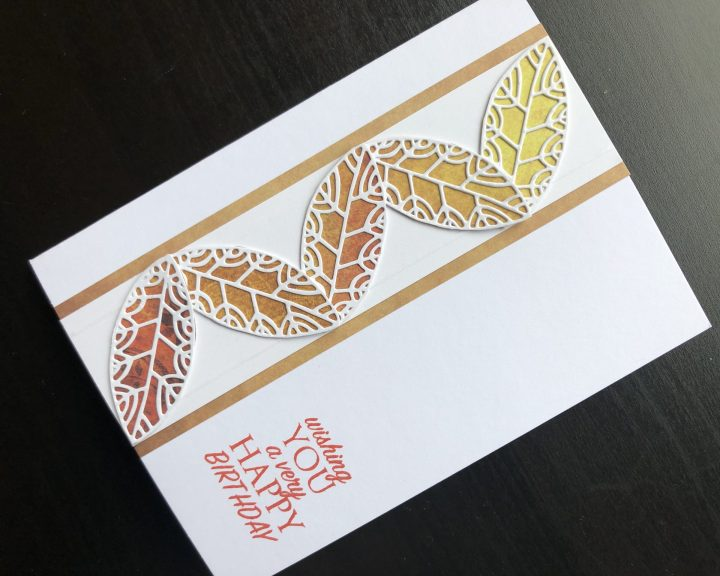 Hand made birthday card with die cut leaves and stamped birthday greeting