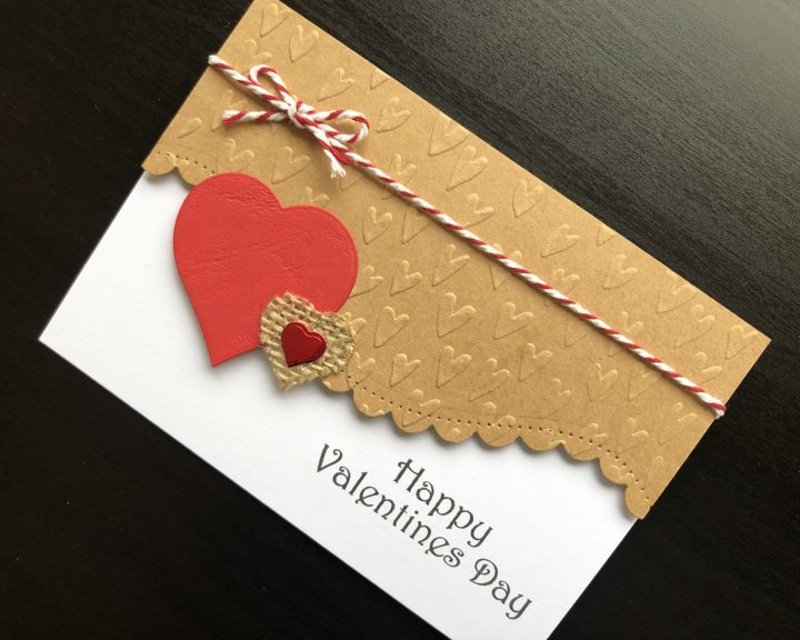 Hand made Valentine card with embossed and die cut hearts