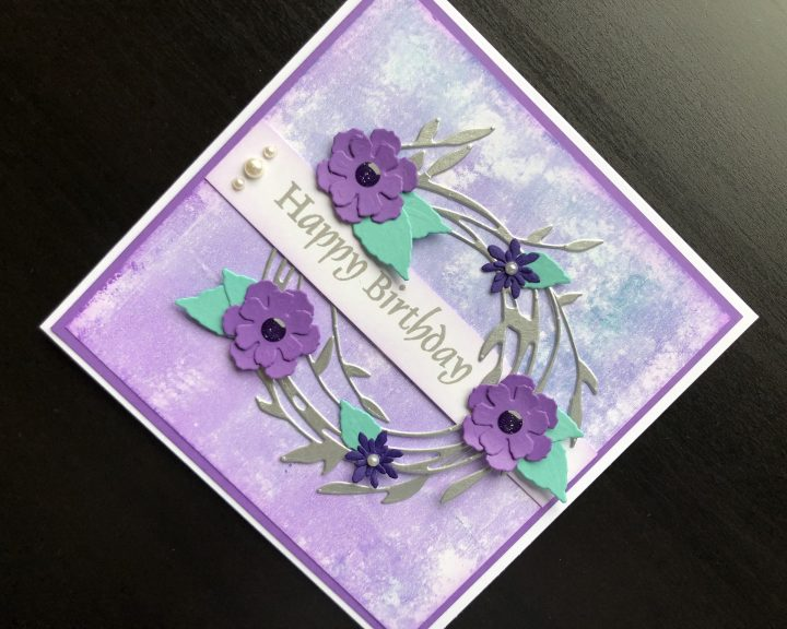 hand made birthday card with floral wreath