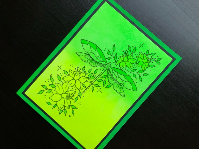 Hand made card with neon polish and stamped dragonfly