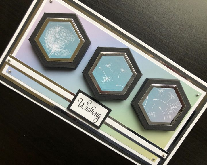 hand made card with die cut hexagonal canvases