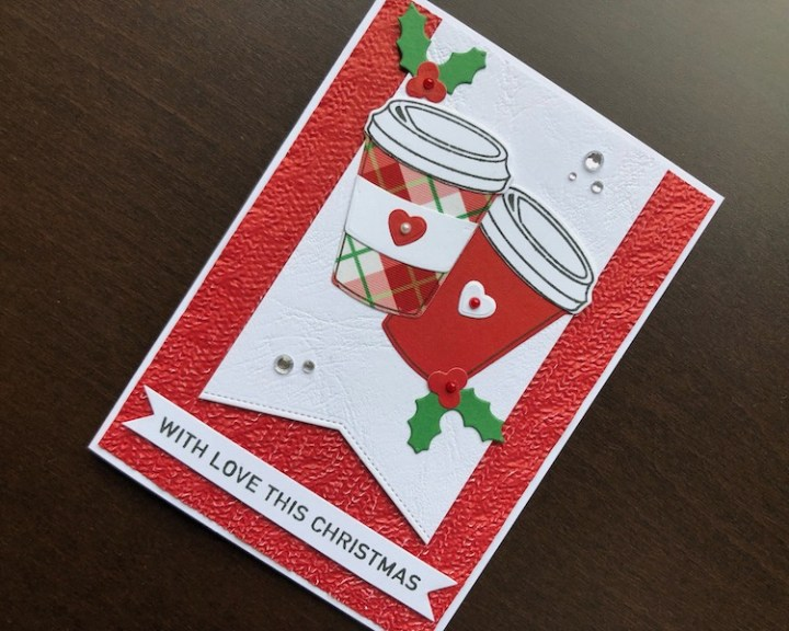 Hand made Christmas card with die cut coffee cups