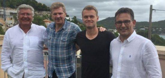 von links: Präsident Wilfried Finke, der neue Chef-Trainer Stefan Effenberg, der neue Co-Trainer Sören Osterland und Geschäftsführer Sport Michael Born.