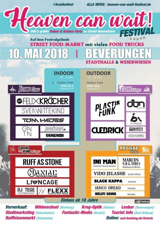 Heaven Can Wait! Festival 2018 - Neues Festival mit Felix Kröcher und 20 weitere Acts in Beverungen!