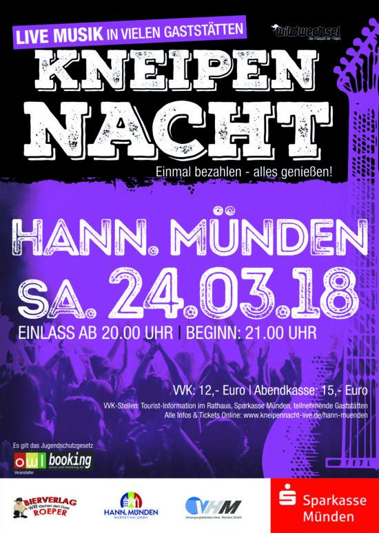 Spaß haben, bitte! - Kneipennacht in Hann. Münden und Bad Driburg am 24.3.2018