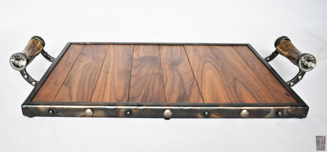 Elk Serving Tray with Horn Handles