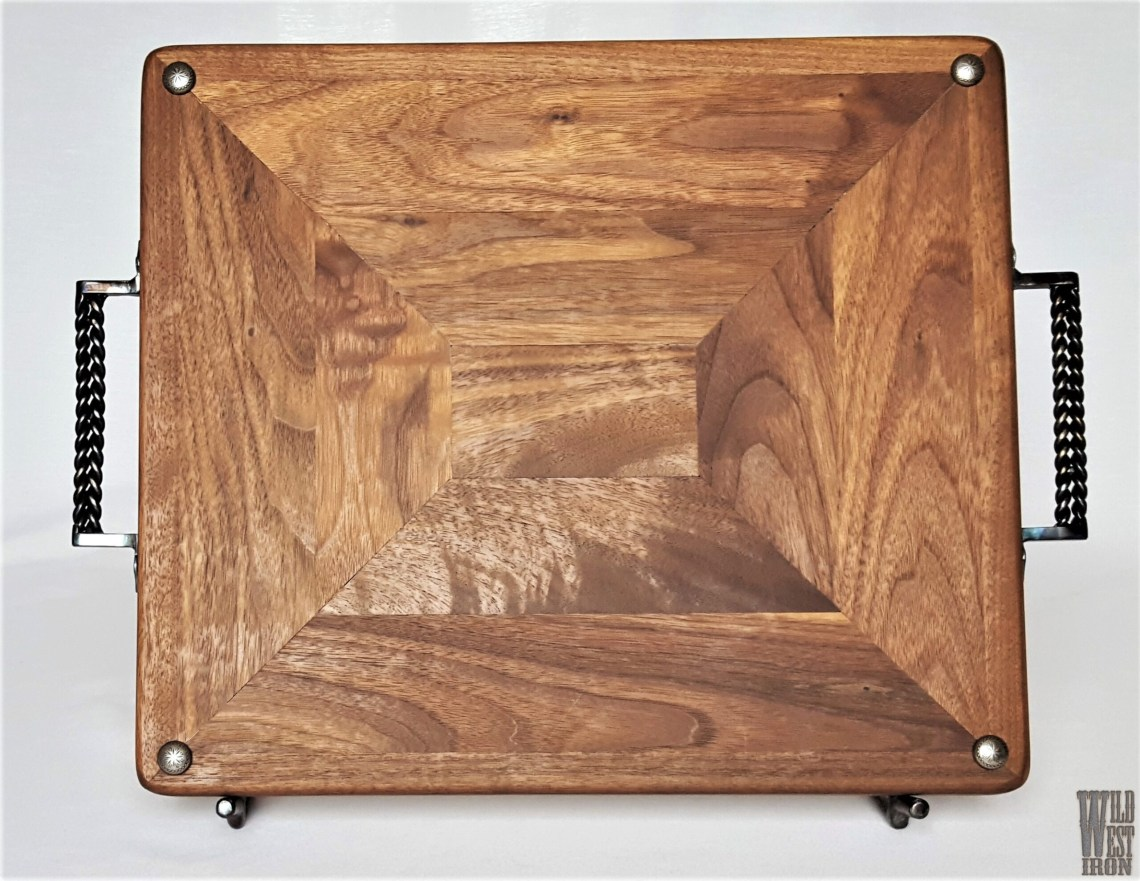 Walnut Serving Tray with Straight Iron Handles