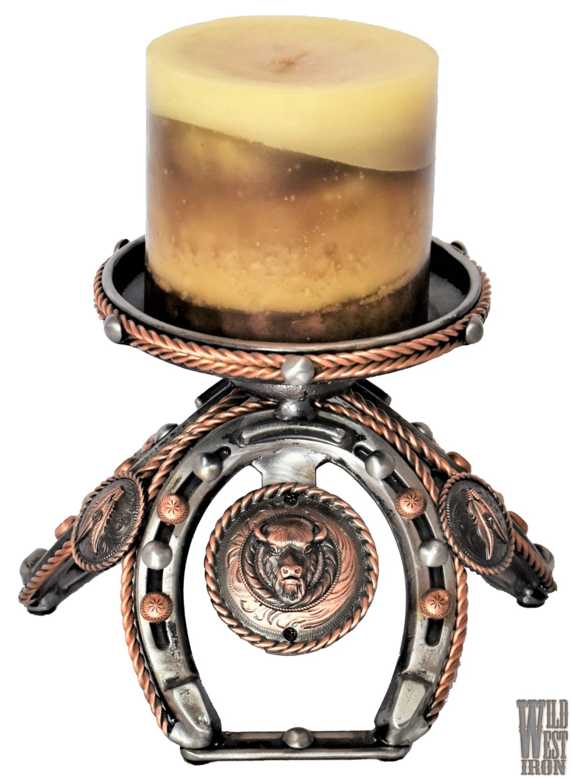 Buffalo Copper Candle Holder View Two