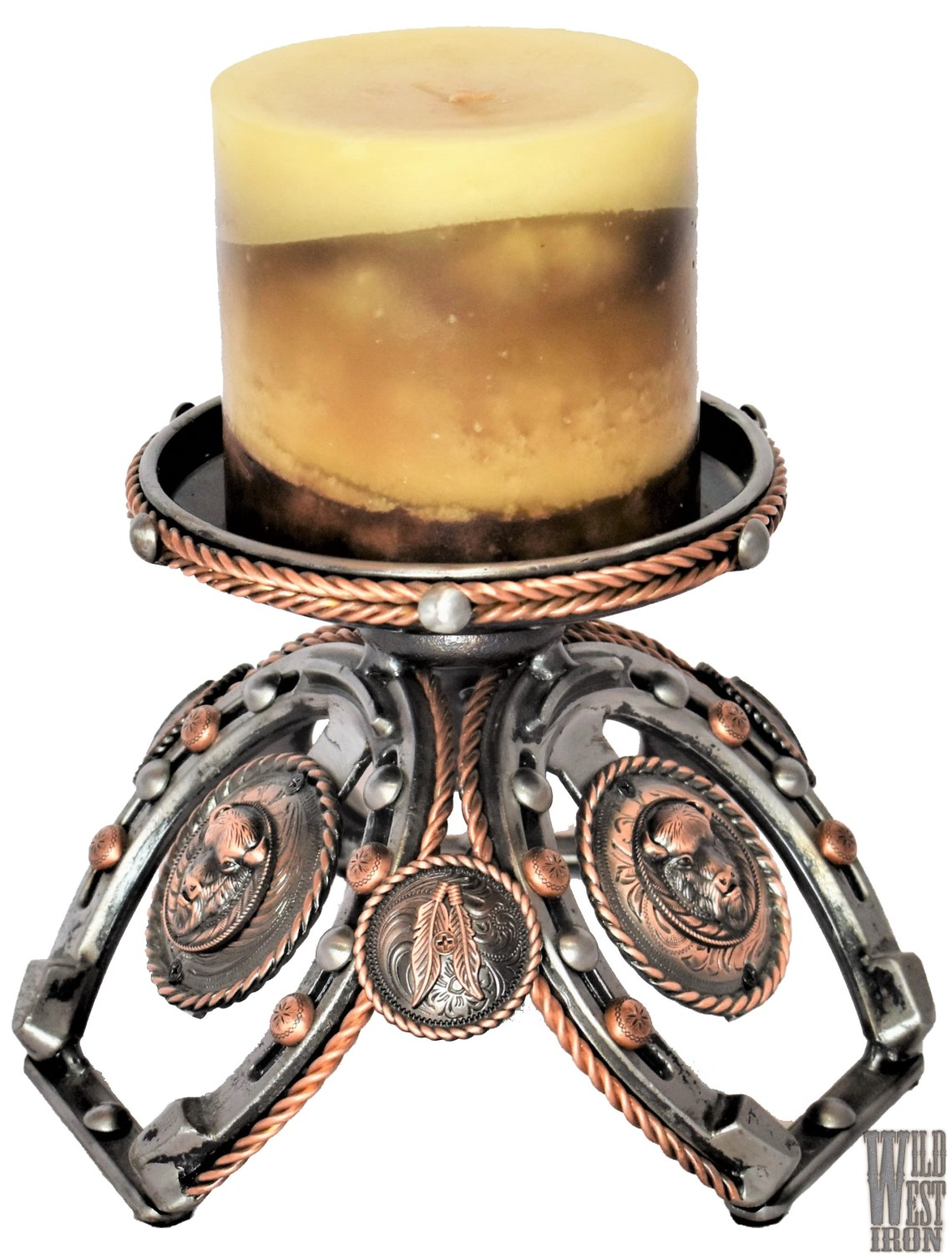 Buffalo Copper Candle Holder View One
