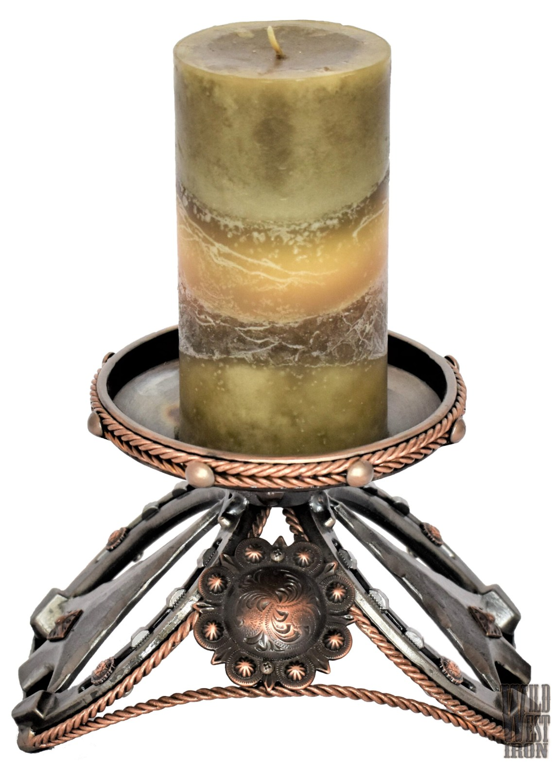 Arrowhead and Copper Candle Holder View One