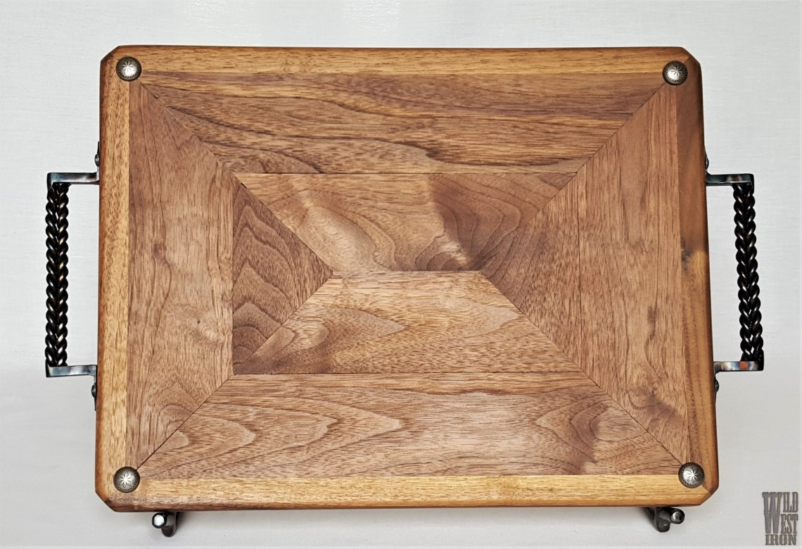 Small Walnut Serving Tray with Straight Iron Handles