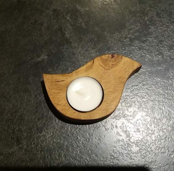 Solid Oak Chicken Shaped Single Candle / Egg Cup