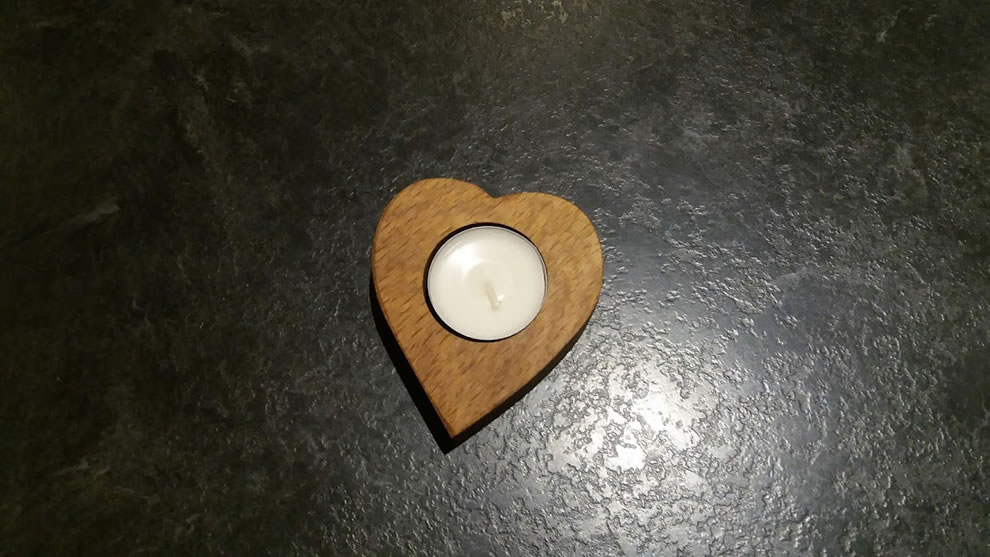 Solid Oak Heart Shaped Single Candle Egg Cup
