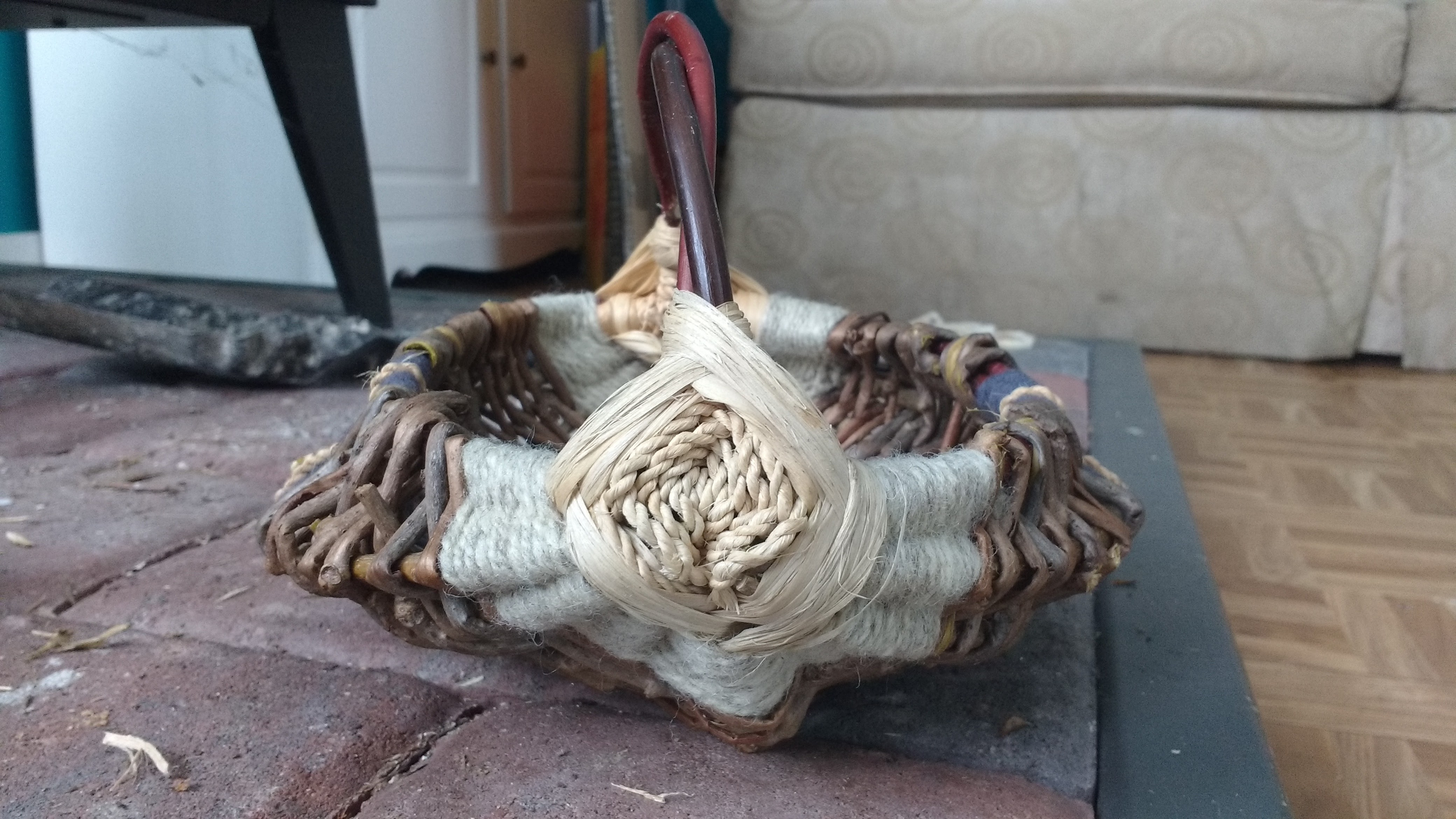 Basket 1: Red Osier, Lilac, Virginia Creeper, Basswood, Wool