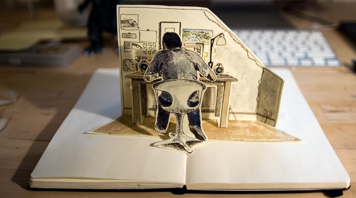 Pop up book self portrait