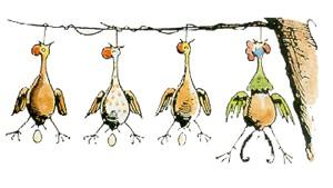 Die Hühner hängen am Baum