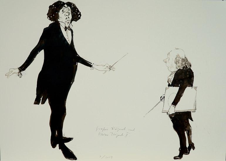 Großer Dirigent und kleiner Dirigent Peter Tuma und VG Bildkunst, Bonn
