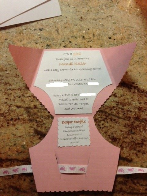 Diy Diaper Baby Shower Invitations