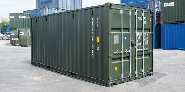 Green shipping container