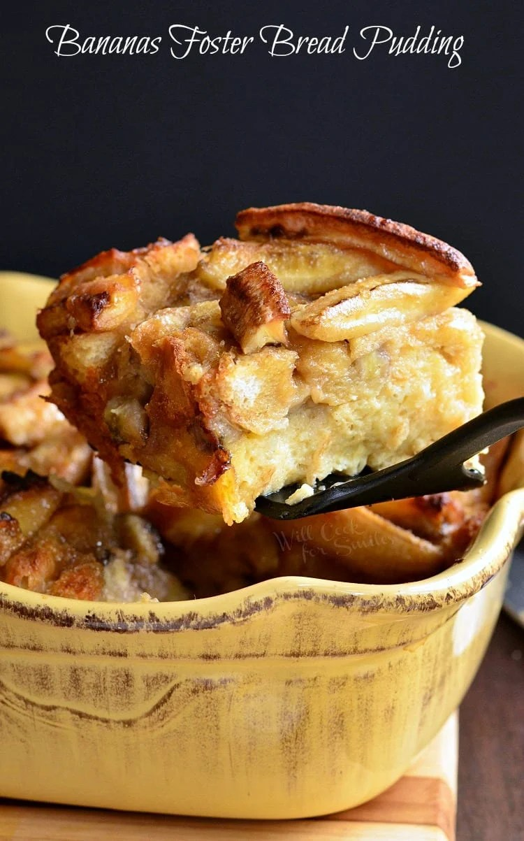 Bananas Foster Bread Pudding. Rich, scrumptious bread pudding dessert made with wonderful bananas foster flavors baked in and on top.